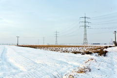 Electrical tower in wintertime Royalty Free Stock Photography