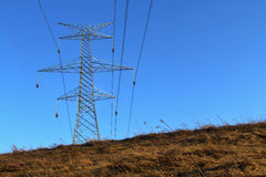Electrical Tower and Wires Overhead Stock Photography