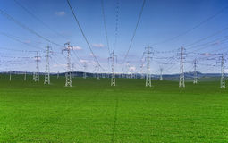 Electrical Towers On A Background Of The Blue Sky Stock Images