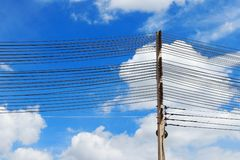 Electrical towers and power lines Stock Photos
