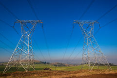 Electrical Towers Two Power-Lines Royalty Free Stock Photos