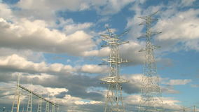 Electrical Towers with Workers stock video footage