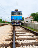 Electrical train on train station in eastern Europe Royalty Free Stock Photos