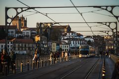 Electrical tram over the dom luis bridge in porto city royalty free stock image