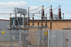 Electrical transformer station Royalty Free Stock Photos