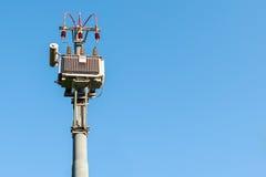 Electrical transformer to electrical pylon Stock Image