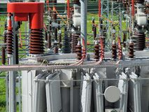 Electrical transformer to a powerhouse Stock Photo