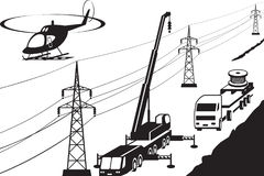 Electrical transmission line maintenance. And repair - vector illustration stock illustration