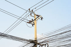 Electrical transmission lines Stock Photos