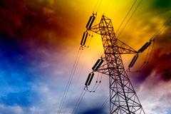 Electrical transmission tower. Landscape.Energy concept stock photo