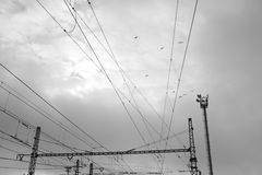 Electrical transmission tower. With birds. Czech 22.11.2013 royalty free stock photography