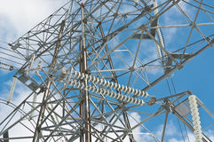 Electrical Transmission Tower (Electricity Pylon). An electrical transmission tower carries high voltage lines Stock Photography