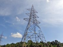 Electrical transmission tower. Without power lines. Landscape. Electrical post royalty free stock photography