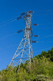 Electrical transmission tower to support power lines. An electrcial transmission tower supports high tension power lines stock photo