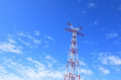 Electrical transmission tower under blue sky. Electrical transmission tower landscape o.Energy concept stock photos