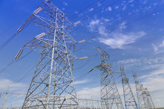 Electrical transmission tower. Under clear sky royalty free stock image