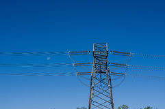 Electrical transmission tower with wires. Electrical transmission tower with high tension wires stock photo