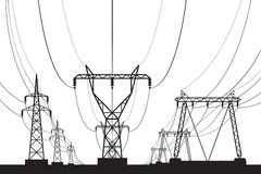 Electrical transmission towers in perspective Royalty Free Stock Images