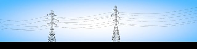 Electrical trusses and electric current cables, electricity distribution. Blue sky background royalty free illustration