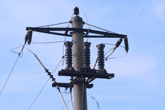 Electrical utility pole. Against blue sky Royalty Free Stock Images