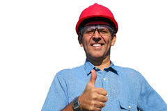 Electrical Utility Worker Over White Background Royalty Free Stock Images