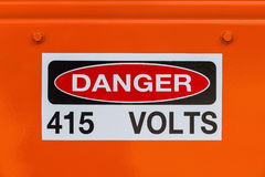 Electrical voltage existing danger sign Royalty Free Stock Photography