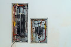 Voltage switchboard with circuit breakers electrical. Electrical voltage switchboard box with wires with circuit breakers fuse-box power electricity cabinet stock photo