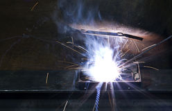Electrical welding on open hard disk drive Stock Photography