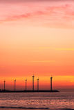 Electrical windmills silhouettes Royalty Free Stock Photography