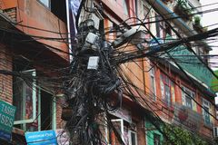 Electrical Wire Cable Tangled and Chaos at Thamel Street. Editorial Stock Images