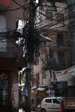 Electrical Wire Cable Tangled and Chaos at Thamel Street, Nepal. Editorial Royalty Free Stock Images