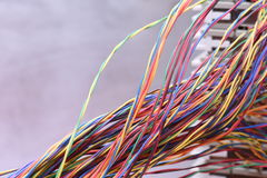 Electrical wire and panel used in telecommunication and computer network. Colored electrical wire and panel used in telecommunication and computer network Stock Photography