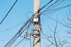 Electrical wire on pole. Stock Image