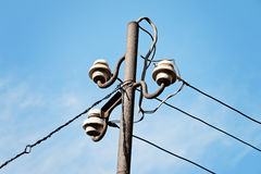 Electrical wire on pole. Stock Photos