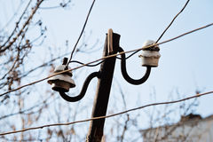 Electrical wire on pole. Stock Photo