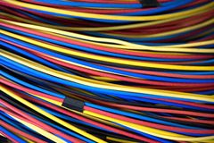 Electrical Wires. Image of colourful electrical wires stock photo