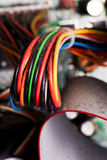 Electrical wires. A group of electrical wires from computer motherboard Stock Photos