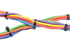 Electrical wires with cable ties Stock Image