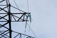 Electrical wires hanging on the electric poles Stock Image