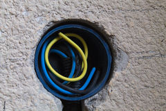 Electrical wires inside a wall socket. Three electrical wires inside a new wall socket, part of a new electrical circuit in a home Stock Images