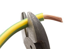 Electrical wires and pliers Royalty Free Stock Photography