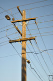 Electrical wires and pole Royalty Free Stock Photo