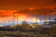 Electrical wires railway lines Royalty Free Stock Photos