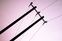 Electrical wires silhouette Royalty Free Stock Images