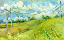 Electrical wires in the summer field oil on canvas illustration. Oil on canvas illustration of pillars with electrical wires in the summer field royalty free illustration