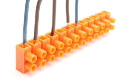 Electrical wires with terminal blocks on white background Stock Photos