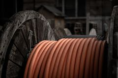 Electrical wires on wooden spool Stock Images