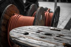 Electrical wires on wooden spool Stock Photo