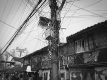Electrical wiring, street scene in China. Electrical wiring in China, street scene in Shanghai Royalty Free Stock Image