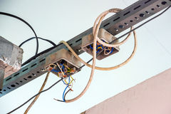 Electrical wiring with exposed wires. Code violation Royalty Free Stock Photos